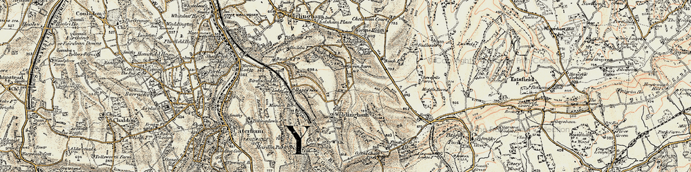 Old map of Worms Heath in 1897-1902