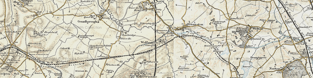 Old map of Wolfhampcote in 1898-1901
