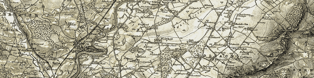 Old map of Wolfhill in 1907-1908