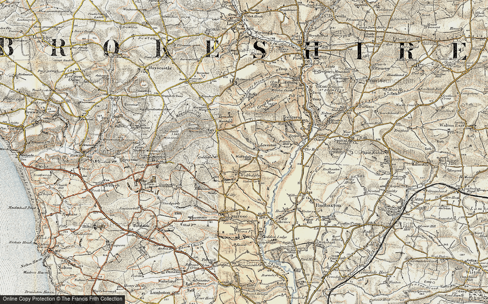 Old Map of Historic Map covering Leweston Mountain in 1901-1912