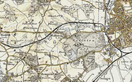 Old map of Wollaton in 1902-1903