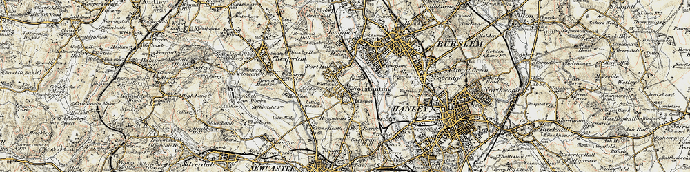 Old map of Wolstanton in 1902