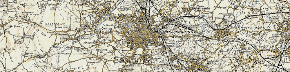 Old map of Wolverhampton in 1902