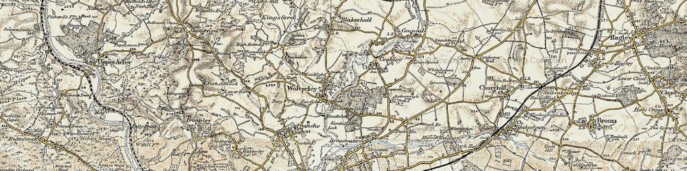 Old map of Wolverley in 1901-1902