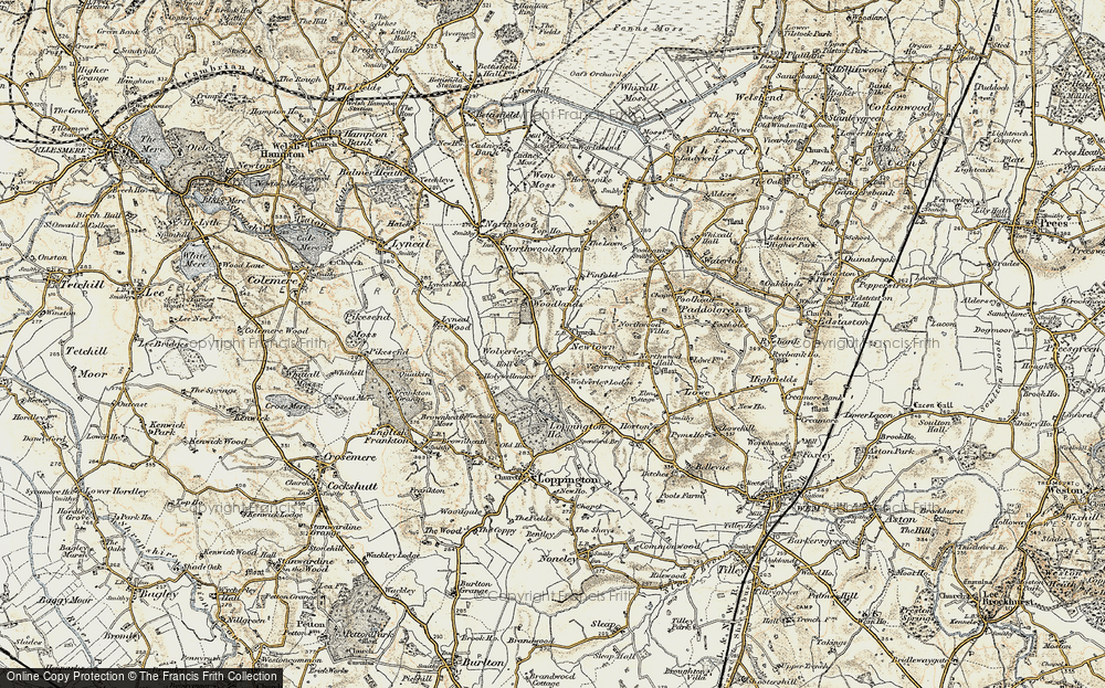 Old Map of Historic Map covering Woodlands, The in 1902