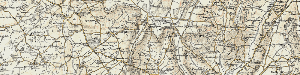 Old map of Wolford Lodge in 1898-1900