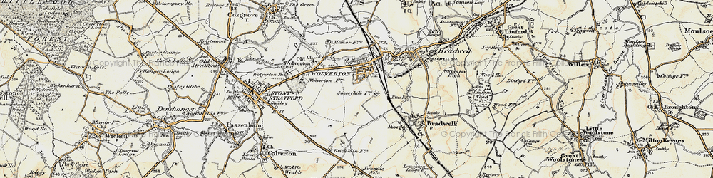 Old map of Wolverton in 1898-1901