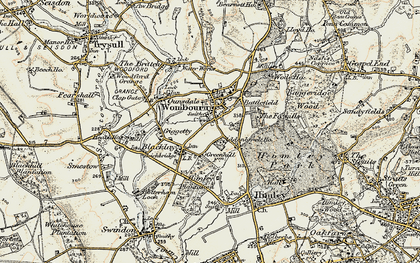 Old map of Wombourne in 1902