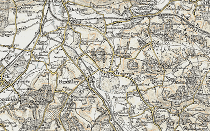 Old map of Wonersh in 1897-1909