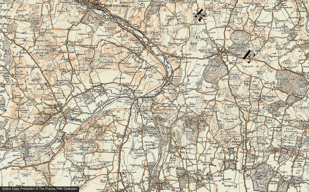 Old Map of Wooburn, 1897-1898 in 1897-1898