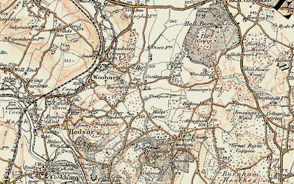 Old map of Wooburn Common in 1897-1898