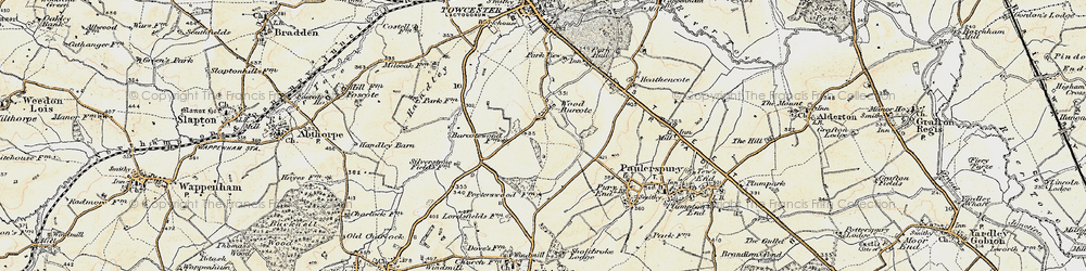 Old map of Wood Burcote in 1898-1901