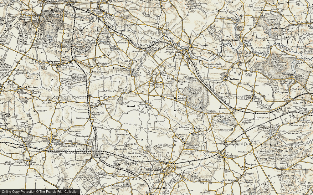 Old Map of Wood Dalling, 1902 in 1902