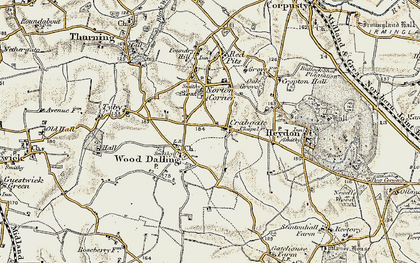 Old map of Wood Dalling in 1902