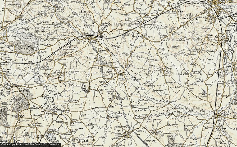 Old Map of Wood Eaton, 1902 in 1902