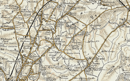 Old map of Wood End in 1901-1902