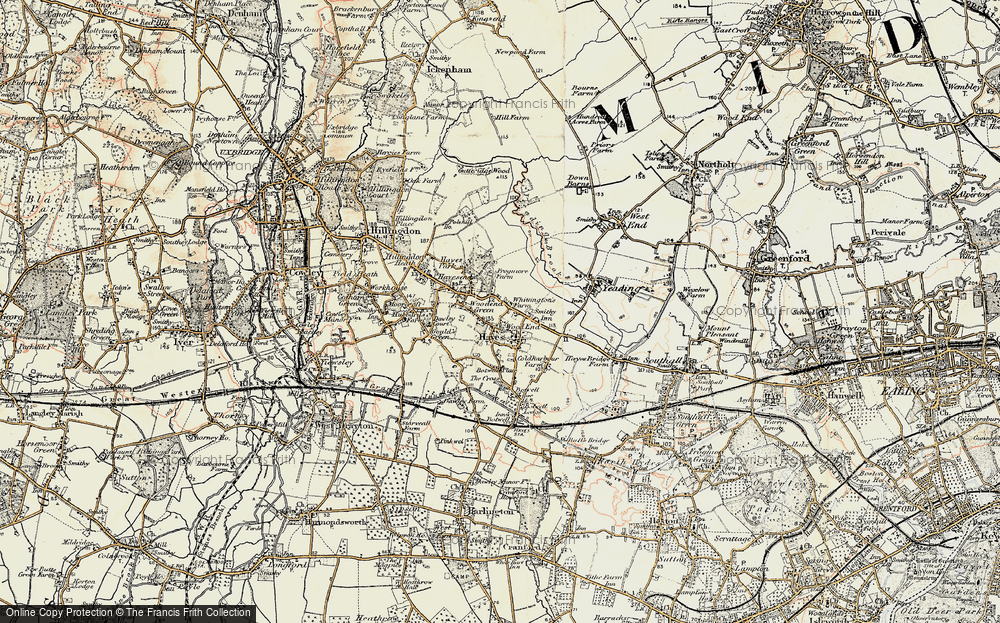 Old Map of Historic Map covering Wood End in 1897-1909