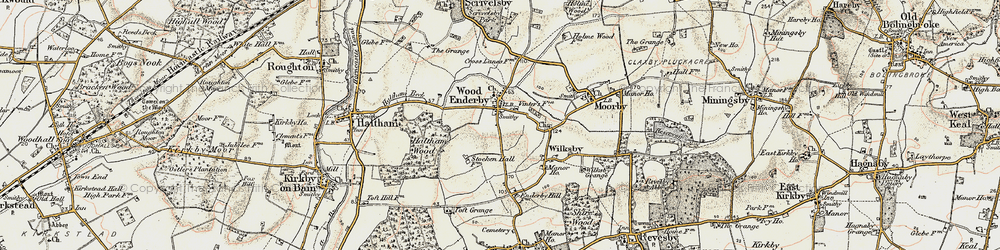 Old map of Wood Enderby in 1902-1903