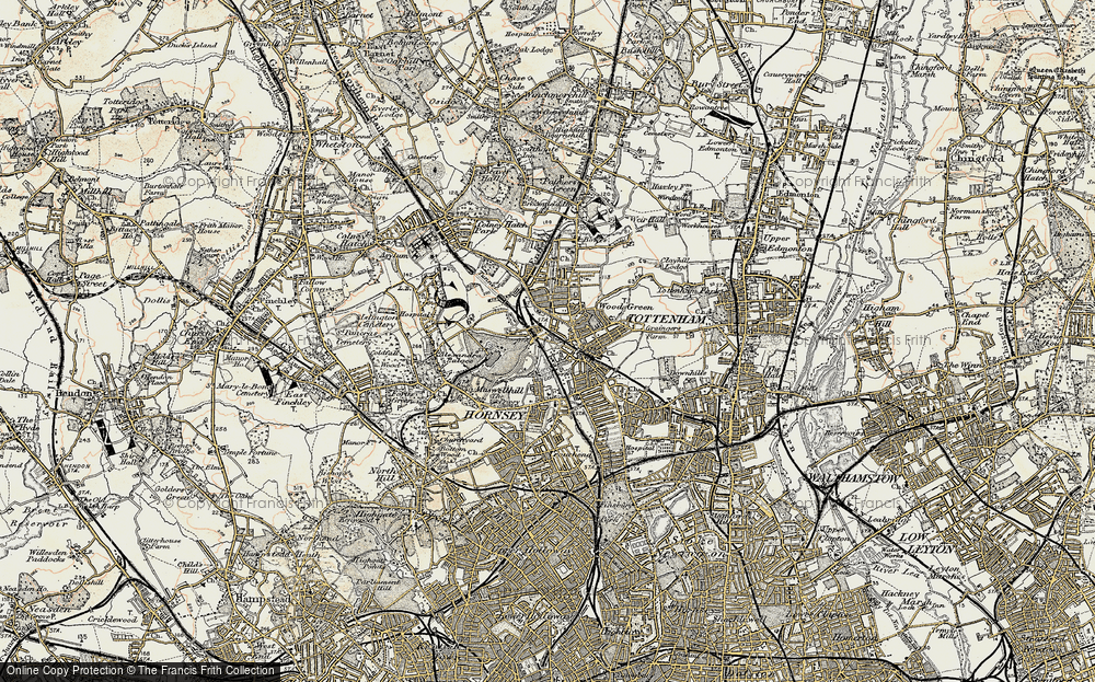 Old Map of Wood Green, 1897-1898 in 1897-1898