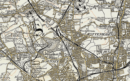 Old map of Wood Green in 1897-1898