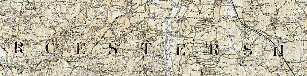 Old map of Woodhampton Ho in 1901-1902