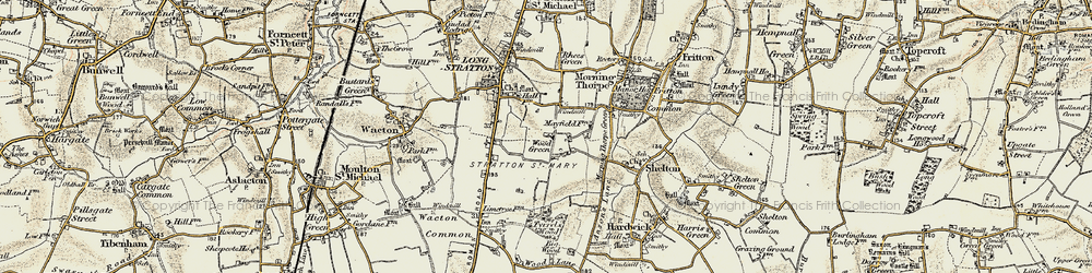 Old map of Wood Green in 1901-1902