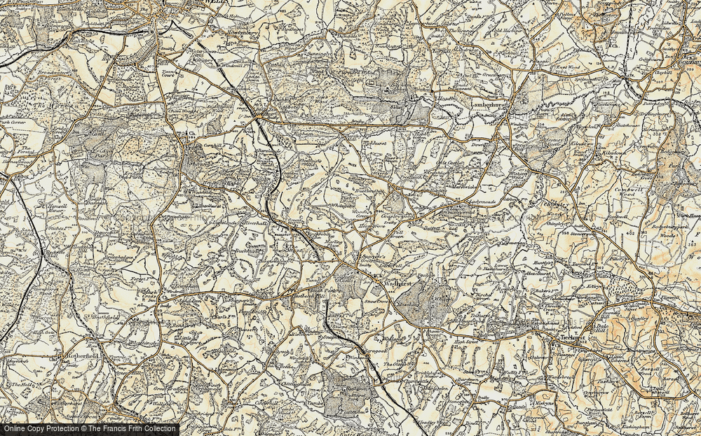 Old Map of Wood's Green, 1898 in 1898