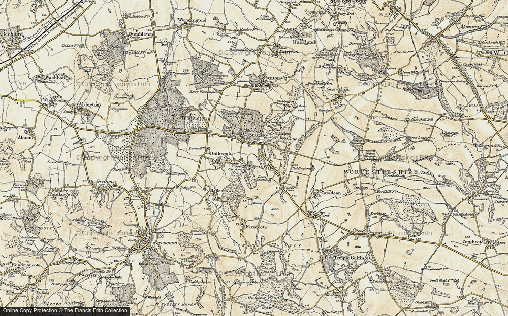 Old Map of Wood Stanway, 1899-1900 in 1899-1900