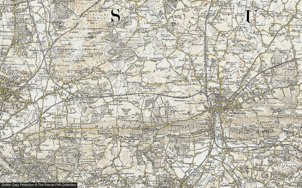Old Map of Wood Street Village, 1898-1909 in 1898-1909