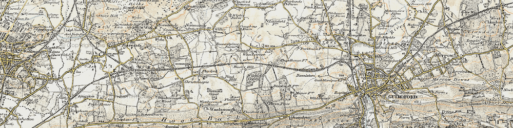Old map of Wood Street Village in 1898-1909