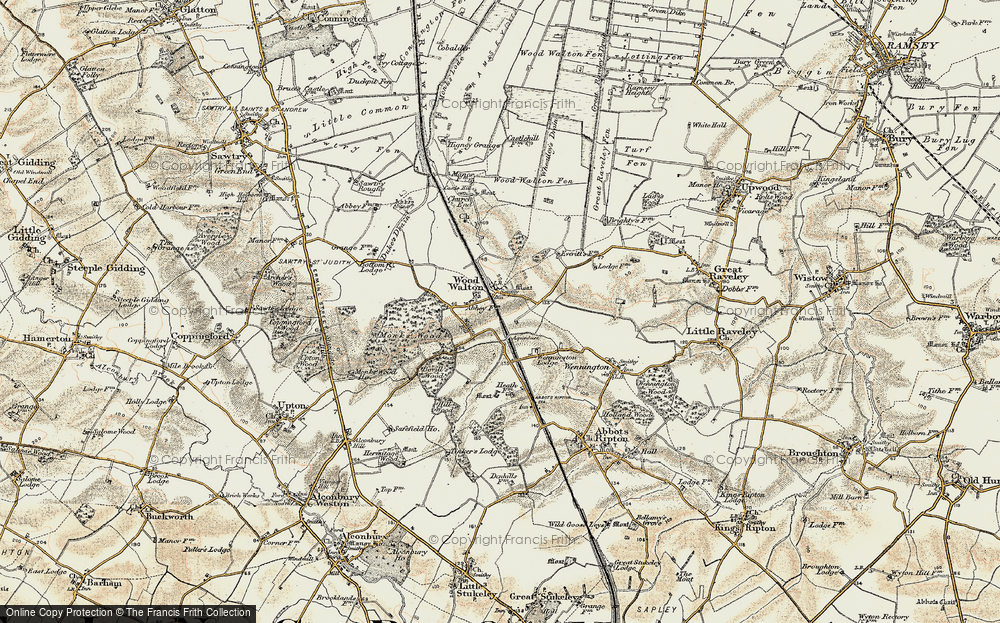 Old Map of Wood Walton, 1901 in 1901