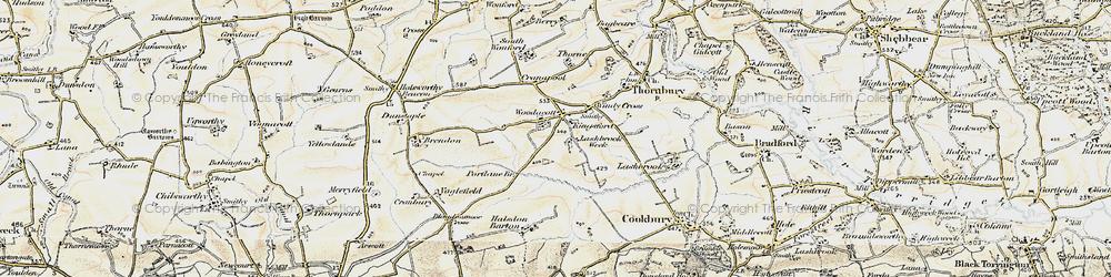 Old map of Woodacott in 1900