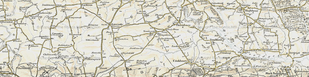 Old map of Woodacott Cross in 1900