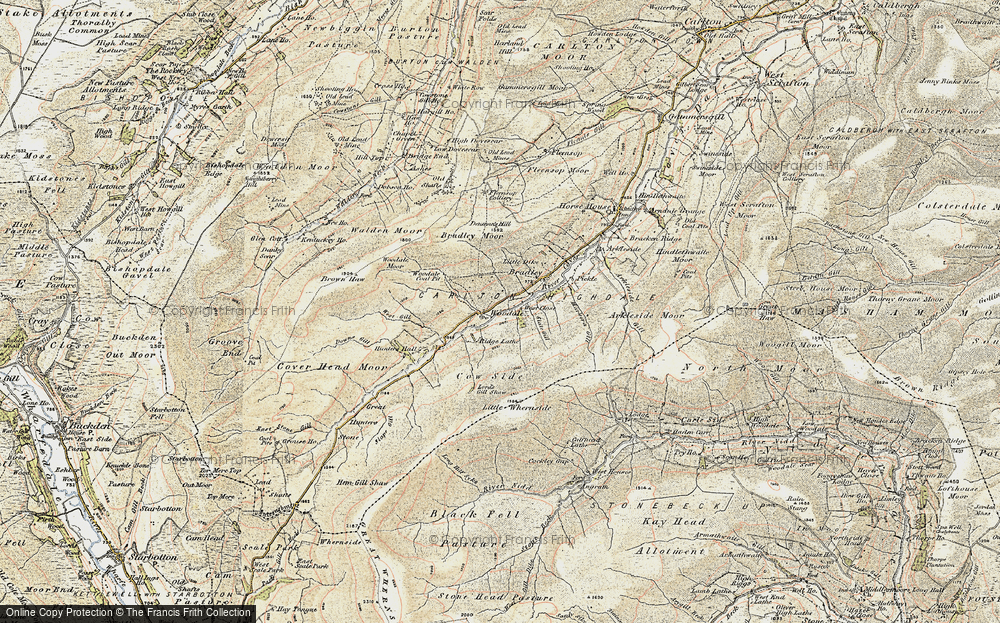 Old Map of Historic Map covering Woodale Moor in 1903-1904