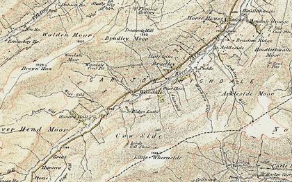 Old map of Angram Reservoir in 1903-1904