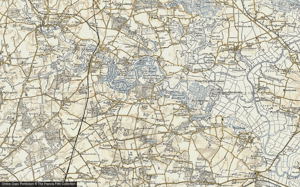 Old Map of Woodbastwick, 1901-1902 in 1901-1902