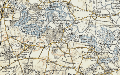 Old map of Woodbastwick Fens & Marshes in 1901-1902