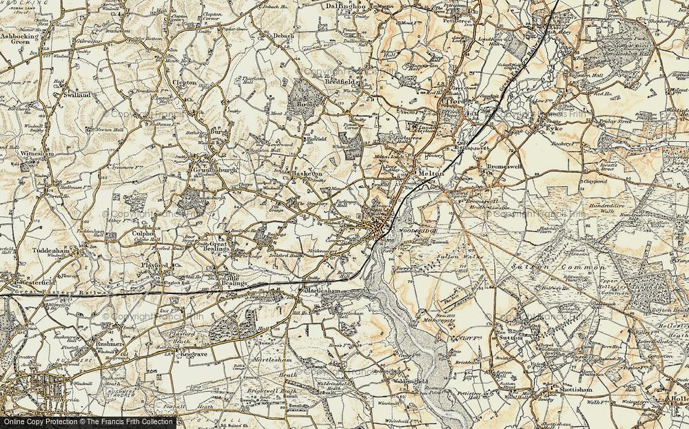 Old Map of Woodbridge, 1898-1901 in 1898-1901