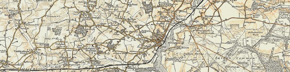 Old map of Woodbridge in 1898-1901