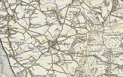 Old map of Woodbury Common in 1899