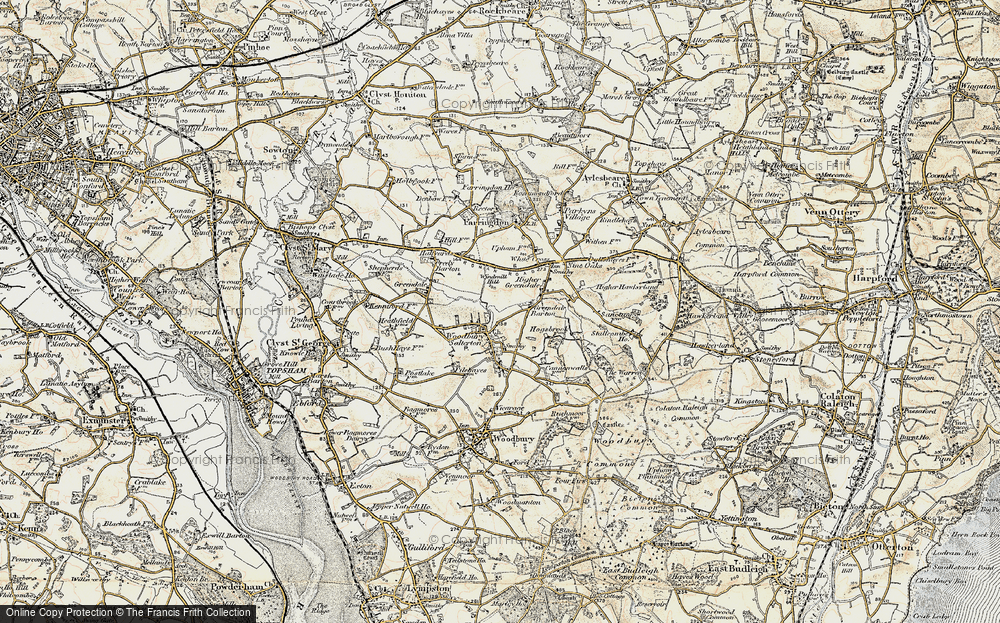Old Map of Woodbury Salterton, 1899 in 1899