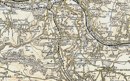 Old map of Woodchester in 1898-1900