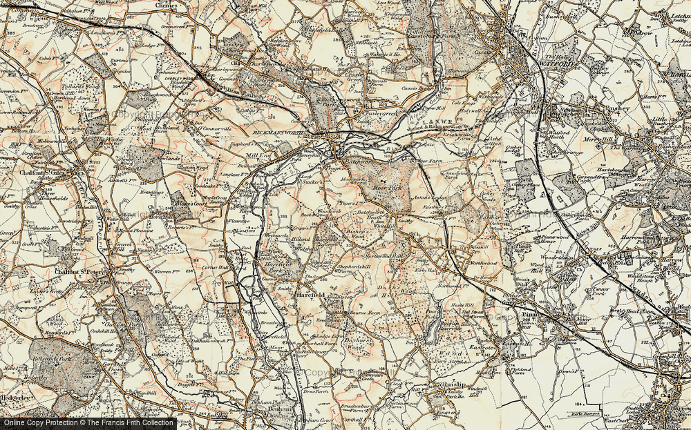Old Map of Woodcock Hill, 1897-1898 in 1897-1898