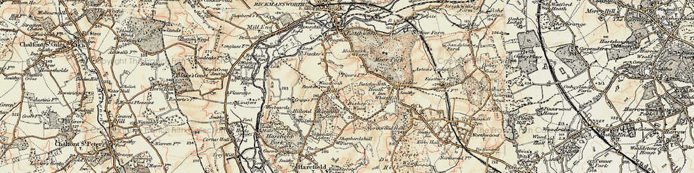 Old map of Woodcock Hill in 1897-1898