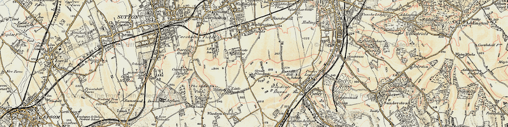 Old map of Woodcote Green in 1897-1902