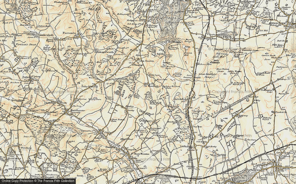 Old Map of Woodcott, 1897-1900 in 1897-1900