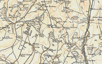 Old map of Woodcott in 1897-1900