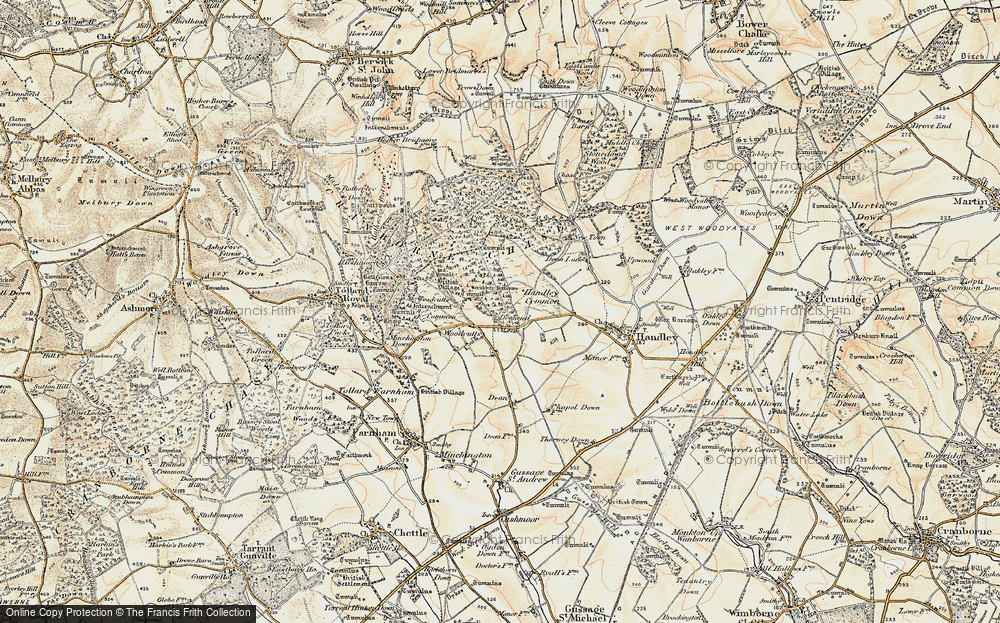 Old Map of Woodcutts, 1897-1909 in 1897-1909