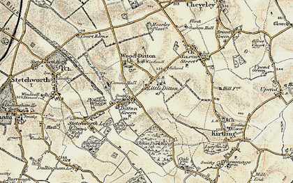Old map of Woodditton in 1899-1901