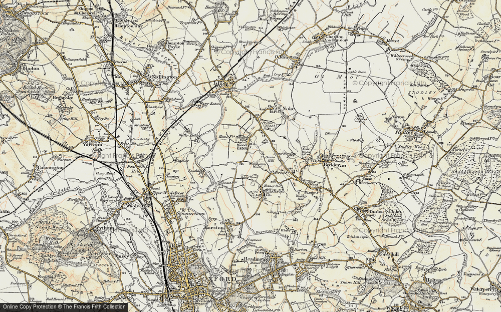 Old Map of Woodeaton, 1898-1899 in 1898-1899